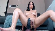 Titt racked MILF toys her gaping gash