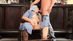 Granny is joined by a farm boy who whips out his prick that she starts sucking on
