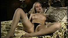 Vintage video of an astonishing blonde beauty masturbating naked