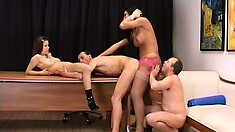 Regular babe joins a pair of guys and a hung shemale for some fun