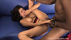 Busty girl with a perfect ass Mali Luna has a huge black dick stretching her peach