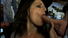 Hubby can't give her enough so she takes on four cocks to please her nympho needs