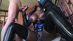 Sex-starved Coco gets naughty and fucks a couple of white charmers
