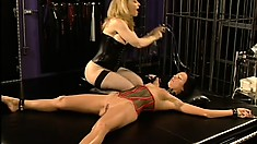 Shapely brunette in a corset bends over for her sadistic mistress