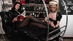 Cross-dressing bitch gets to lick his mistress's elegant feet