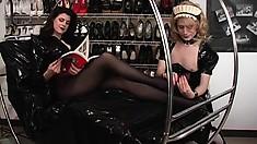 Cross-dressing bitch gets to lick his mistress's elegant feet