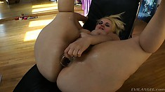 Big Tit, Big Ass Gal Gets A Plug Up Her Butt, Gets Measured And Ass Toy Fucked