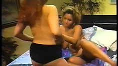 Brilliant lesbians Jazz and Cherrie indulge themselves in pussy licking fun