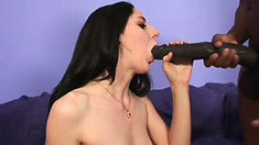 Brunette coed coping with the biggest black cocks she's ever seen