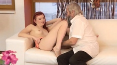 Old Man Cums Inside Pussy First Time Unexpected Practice