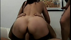 Mommy takes more jizz than ever before from this gang of horny guys