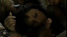 Smoking hot babes make each other cum during a wild lesbian orgy