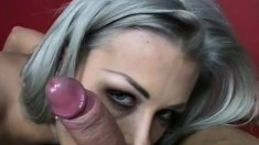 Elegant blonde wraps her sexy lips on a big rod and takes it to orgasm