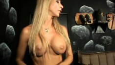 Busty domina in incredibly sexy lingerie playing with her slavegirl
