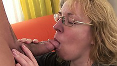 Blonde mature woman with big natural tits has sexual desires to satisfy