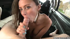 Finally he talks her into showing some tit and goes down on his rod