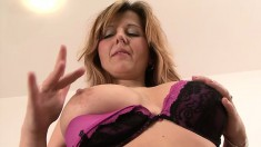 Luscious blonde cougar is in need of a black shaft drilling her peach