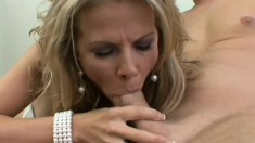 Ravishing blonde milf in white stockings takes a hard stick up her ass