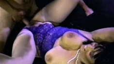 Curvy brunette MILF with massive tits gets banged by six dudes
