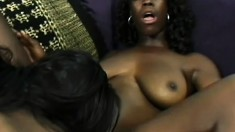Big beautiful black women sharing their toys and licking their pussies