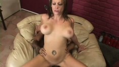 Stunning milf with big boobs has a hard cock pounding her needy holes