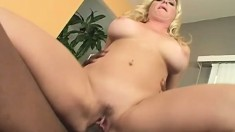 Busty blonde begs for this black cock to fill her tight snatch